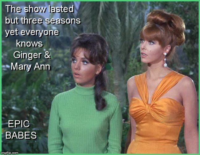 Ginger & Mary Ann - EPIC BABES | image tagged in ginger and mary ann,lol so funny,funny memes,hot babes,gilligans island,lol | made w/ Imgflip meme maker