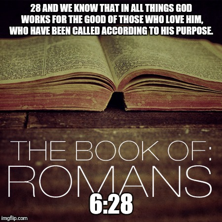 Bible  | 28 AND WE KNOW THAT IN ALL THINGS GOD WORKS FOR THE GOOD OF THOSE WHO LOVE HIM, WHO HAVE BEEN CALLED ACCORDING TO HIS PURPOSE. 6:28 | image tagged in god,jesus,holyspirit,trinity,catholic,bibleverse | made w/ Imgflip meme maker