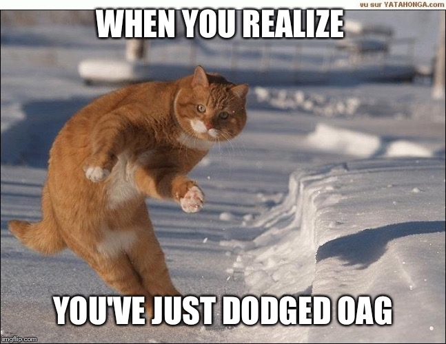 WHEN YOU REALIZE YOU'VE JUST DODGED OAG | made w/ Imgflip meme maker