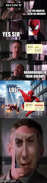 Marvel Sony deal  | image tagged in spiderman | made w/ Imgflip meme maker