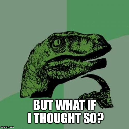 Philosoraptor Meme | BUT WHAT IF I THOUGHT SO? | image tagged in memes,philosoraptor | made w/ Imgflip meme maker