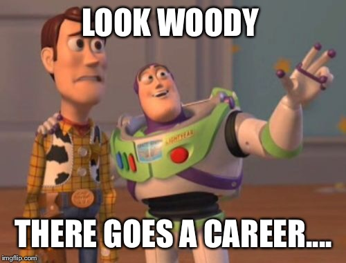 X, X Everywhere Meme | LOOK WOODY THERE GOES A CAREER.... | image tagged in memes,x,x everywhere,x x everywhere | made w/ Imgflip meme maker