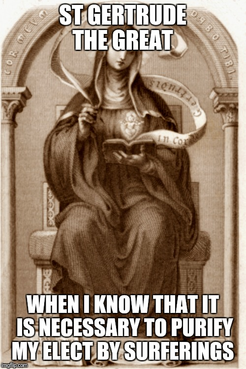 Purify | ST GERTRUDE THE GREAT WHEN I KNOW THAT IT IS NECESSARY TO PURIFY MY ELECT BY SURFERINGS | image tagged in god,jesus,holy spirit,catholic,christian,saints | made w/ Imgflip meme maker