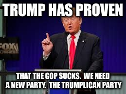 TRUMP HAS PROVEN THAT THE GOP SUCKS.  WE NEED A NEW PARTY.  THE TRUMPLICAN PARTY | image tagged in republicans | made w/ Imgflip meme maker