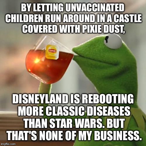 Kermit on Disney reboots | BY LETTING UNVACCINATED CHILDREN RUN AROUND IN A CASTLE COVERED WITH PIXIE DUST, DISNEYLAND IS REBOOTING MORE CLASSIC DISEASES THAN STAR WAR | image tagged in memes,but thats none of my business,kermit the frog,disney killed star wars,disneyland,vaccine | made w/ Imgflip meme maker