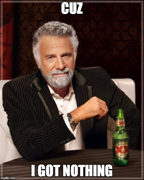 The Most Interesting Man In The World Meme | CUZ I GOT NOTHING | image tagged in memes,the most interesting man in the world | made w/ Imgflip meme maker