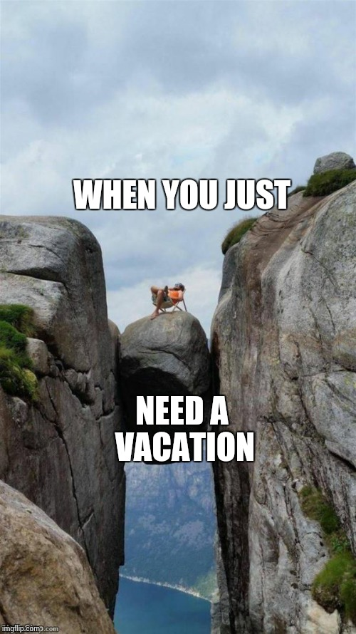 WHEN YOU JUST NEED A VACATION | image tagged in on a rock | made w/ Imgflip meme maker