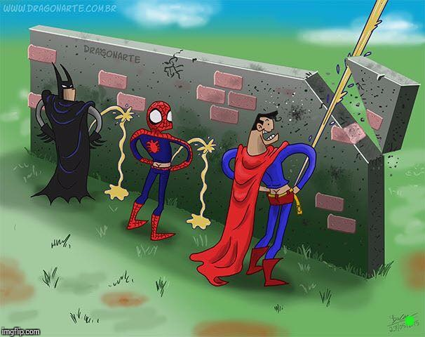 Superhero toilet humor - Superhero Week- Nov 12 to 18 -A Pipe_Picasso and Madolite event. | . | image tagged in nsfw,superhero week,pipe_picasso,madolite,superman,batman | made w/ Imgflip meme maker