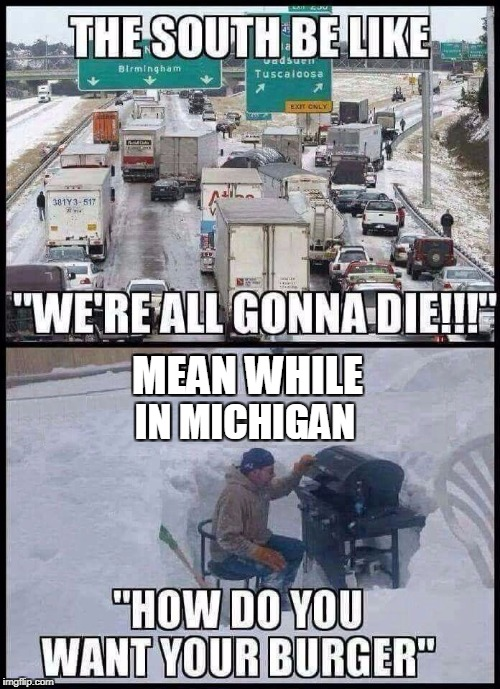 The older I get the less I care for winter | IN MICHIGAN MEAN WHILE | image tagged in winter,winter is here | made w/ Imgflip meme maker