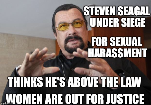 Steven Seagal | FOR SEXUAL HARASSMENT STEVEN SEAGAL UNDER SIEGE THINKS HE'S ABOVE THE LAW WOMEN ARE OUT FOR JUSTICE | image tagged in steven seagal | made w/ Imgflip meme maker