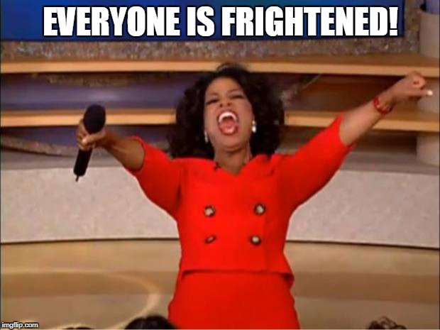 Oprah You Get A Meme | EVERYONE IS FRIGHTENED! | image tagged in memes,oprah you get a | made w/ Imgflip meme maker