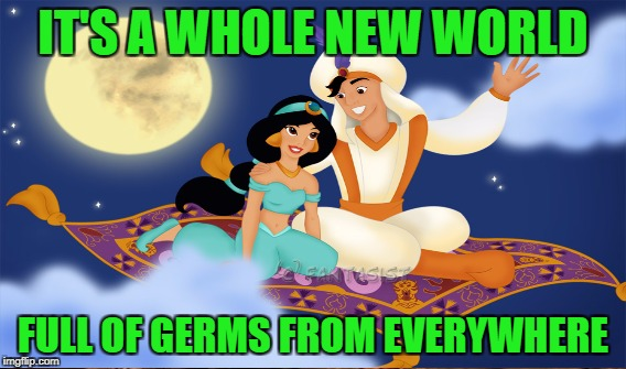 IT'S A WHOLE NEW WORLD FULL OF GERMS FROM EVERYWHERE | made w/ Imgflip meme maker