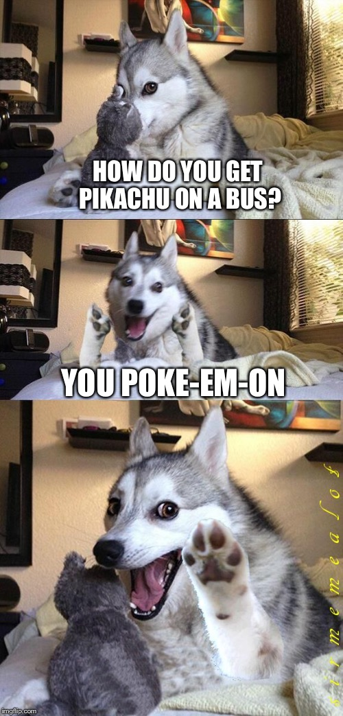 Bad Pun Dog | HOW DO YOU GET PIKACHU ON A BUS? YOU POKE-EM-ON | image tagged in bad pun dog aliens zinger,memes,bad pun dog,pokemon,overly attached girlfriend,overly attached girlfriend weekend | made w/ Imgflip meme maker