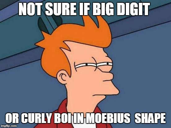 Futurama Fry Meme | NOT SURE IF BIG DIGIT OR CURLY BOI IN MOEBIUS  SHAPE | image tagged in memes,futurama fry | made w/ Imgflip meme maker