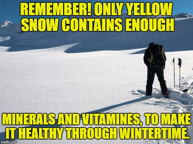 Yellow Snow | REMEMBER! ONLY YELLOW SNOW CONTAINS ENOUGH MINERALS AND VITAMINES, TO MAKE IT HEALTHY THROUGH WINTERTIME. | image tagged in yellow snow | made w/ Imgflip meme maker