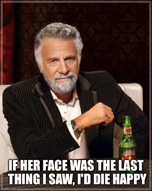 The Most Interesting Man In The World Meme | IF HER FACE WAS THE LAST THING I SAW, I'D DIE HAPPY | image tagged in memes,the most interesting man in the world | made w/ Imgflip meme maker