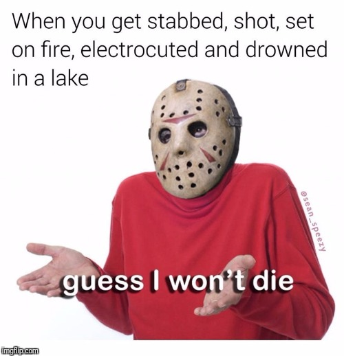 image tagged in friday the 13th,death,funny,truth,so true | made w/ Imgflip meme maker