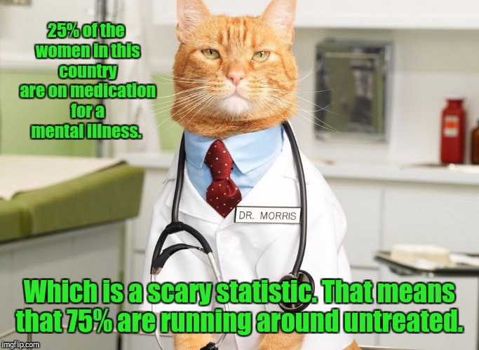25% of the women in this country are on medication for a mental illness. Which is a scary statistic. That means that 75% are running around  | image tagged in cat doctor | made w/ Imgflip meme maker