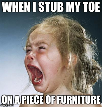 Gosh darnit I stubbed meh toe | WHEN I STUB MY TOE ON A PIECE OF FURNITURE | image tagged in little girl screaming | made w/ Imgflip meme maker