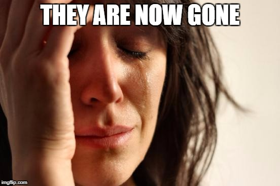 First World Problems Meme | THEY ARE NOW GONE | image tagged in memes,first world problems | made w/ Imgflip meme maker