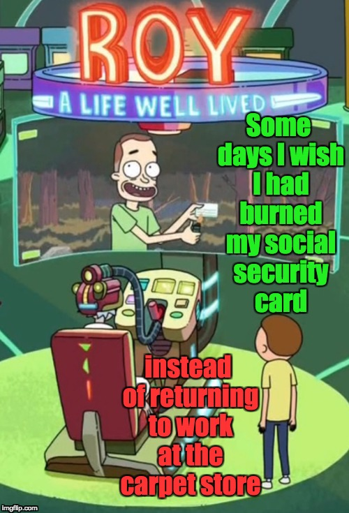 Me As Roy | Some days I wish I had burned my social security card instead of returning to work at the carpet store | image tagged in regrets,rick and morty,roy a life well lived,video games,videogame,carpet store | made w/ Imgflip meme maker