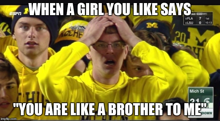"Stunned Michigan fan | WHEN A GIRL YOU LIKE SAYS ""YOU ARE LIKE A BROTHER TO ME"" 