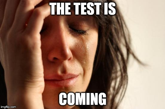 First World Problems Meme | THE TEST IS COMING | image tagged in memes,first world problems | made w/ Imgflip meme maker
