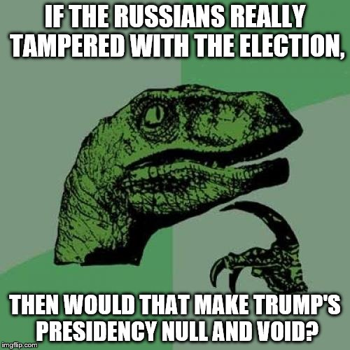 Philosoraptor Meme | IF THE RUSSIANS REALLY TAMPERED WITH THE ELECTION, THEN WOULD THAT MAKE TRUMP'S PRESIDENCY NULL AND VOID? | image tagged in memes,philosoraptor | made w/ Imgflip meme maker
