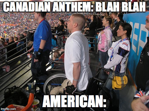 """Standing"" at attention for national anthem 