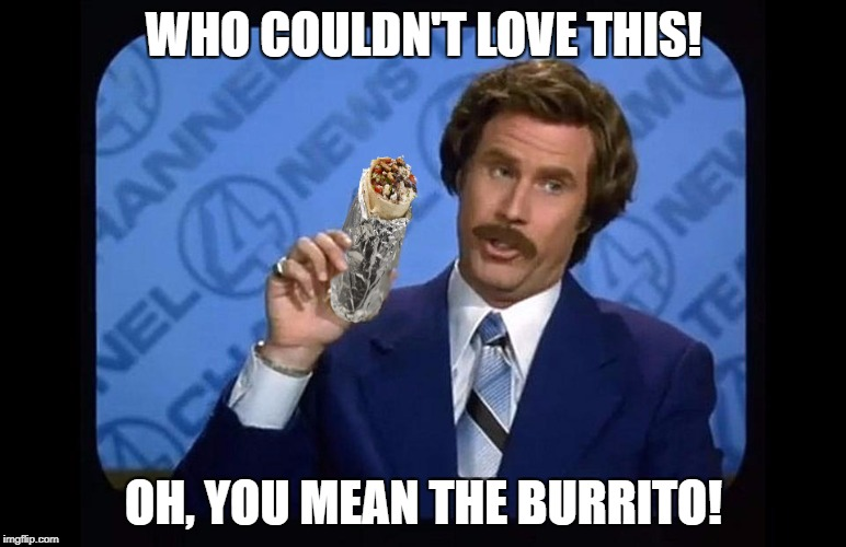WHO COULDN'T LOVE THIS! OH, YOU MEAN THE BURRITO! | image tagged in ron burgundy - i love chipotle | made w/ Imgflip meme maker