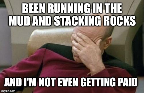 Captain Picard Facepalm Meme | BEEN RUNNING IN THE MUD AND STACKING ROCKS AND I'M NOT EVEN GETTING PAID | image tagged in memes,captain picard facepalm | made w/ Imgflip meme maker