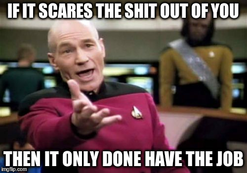 Picard Wtf Meme | IF IT SCARES THE SHIT OUT OF YOU THEN IT ONLY DONE HAVE THE JOB | image tagged in memes,picard wtf | made w/ Imgflip meme maker