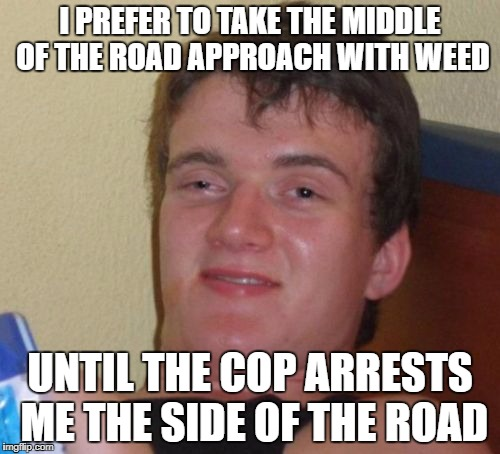 10 Guy Meme | I PREFER TO TAKE THE MIDDLE OF THE ROAD APPROACH WITH WEED UNTIL THE COP ARRESTS ME THE SIDE OF THE ROAD | image tagged in memes,10 guy | made w/ Imgflip meme maker