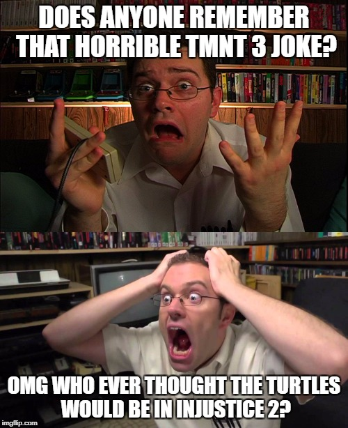 DOES ANYONE REMEMBER THAT HORRIBLE TMNT 3 JOKE? OMG WHO EVER THOUGHT THE TURTLES WOULD BE IN INJUSTICE 2? | image tagged in tmnt,avgn,joke,dc comics | made w/ Imgflip meme maker