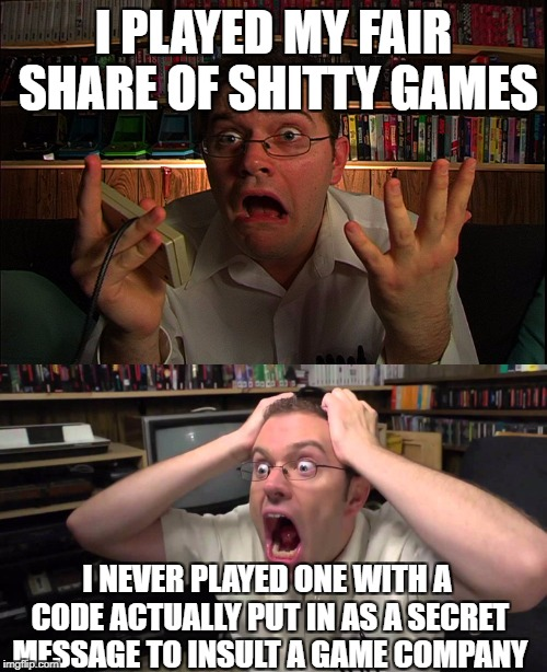 I PLAYED MY FAIR SHARE OF SHITTY GAMES I NEVER PLAYED ONE WITH A CODE ACTUALLY PUT IN AS A SECRET MESSAGE TO INSULT A GAME COMPANY | image tagged in avgn,secret,insult | made w/ Imgflip meme maker