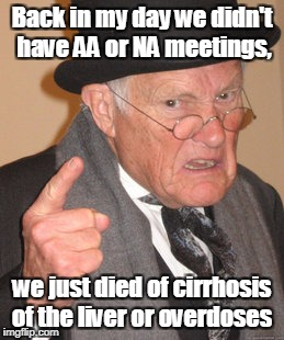 Back In My Day Meme | Back in my day we didn't have AA or NA meetings, we just died of cirrhosis of the liver or overdoses | image tagged in memes,back in my day | made w/ Imgflip meme maker