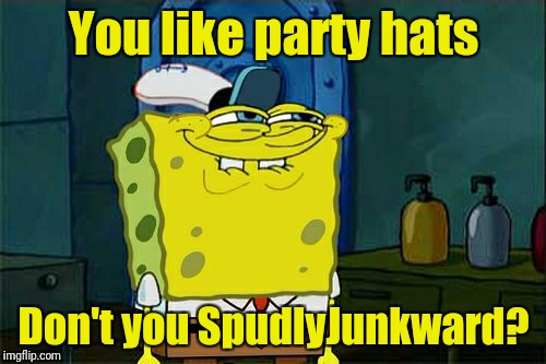 Dont You Squidward Meme | You like party hats Don't you SpudlyJunkward? | image tagged in memes,dont you squidward | made w/ Imgflip meme maker