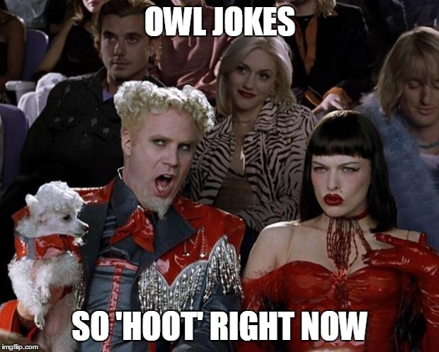 Mugatu So Hot Right Now Meme | OWL JOKES SO 'HOOT' RIGHT NOW | image tagged in memes,mugatu so hot right now | made w/ Imgflip meme maker