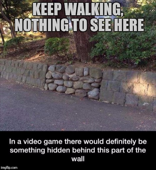 Thinking like a gamer | KEEP WALKING, NOTHING TO SEE HERE | image tagged in video games,easter egg,bonus | made w/ Imgflip meme maker