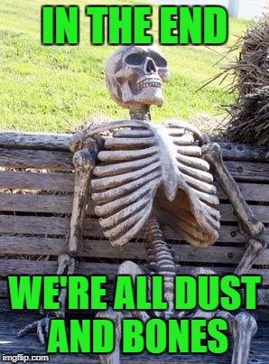 Waiting Skeleton Meme | IN THE END WE'RE ALL DUST AND BONES | image tagged in memes,waiting skeleton | made w/ Imgflip meme maker