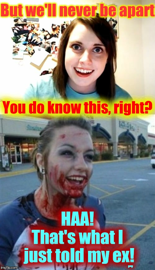 Famous Last First Words,,, Overly Attached Girlfriend Weekend, a Socrates, isayisay and Craziness_all_the_way event 11/10-12/17 | But we'll never be apart HAA!     That's what I   just told my ex! You do know this, right? ,., | image tagged in memes,overly attached girlfriend weekend,a socrates and isayisay and craziness_all_the_way event,oag meets psycho nympho,yummy | made w/ Imgflip meme maker