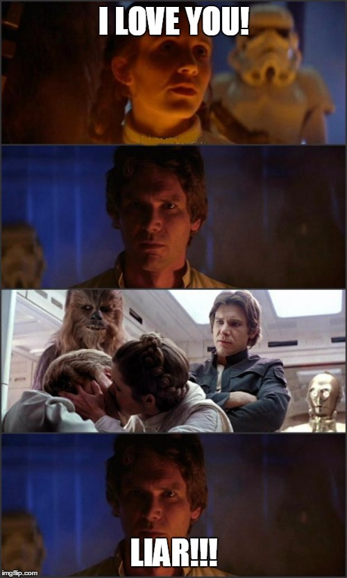 Star Wars | I LOVE YOU! LIAR!!! | image tagged in star wars | made w/ Imgflip meme maker