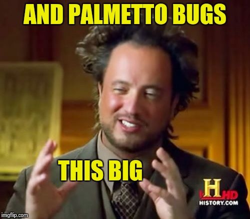 Ancient Aliens Meme | AND PALMETTO BUGS THIS BIG | image tagged in memes,ancient aliens | made w/ Imgflip meme maker