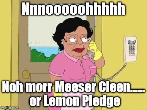 consuela | Nnnooooohhhhh Noh morr Meeser Cleen...... or Lemon Pledge | image tagged in consuela | made w/ Imgflip meme maker