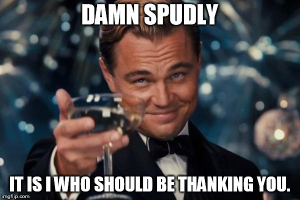 Leonardo Dicaprio Cheers Meme | DAMN SPUDLY IT IS I WHO SHOULD BE THANKING YOU. | image tagged in memes,leonardo dicaprio cheers | made w/ Imgflip meme maker