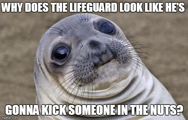 Awkward Moment Sealion Meme | WHY DOES THE LIFEGUARD LOOK LIKE HE'S GONNA KICK SOMEONE IN THE NUTS? | image tagged in memes,awkward moment sealion | made w/ Imgflip meme maker