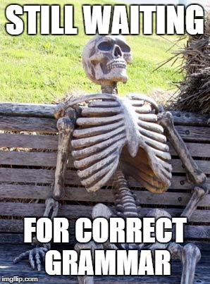 Waiting Skeleton Meme | STILL WAITING FOR CORRECT GRAMMAR | image tagged in memes,waiting skeleton | made w/ Imgflip meme maker