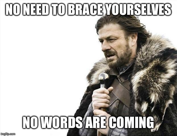 Brace Yourselves X is Coming Meme | NO NEED TO BRACE YOURSELVES NO WORDS ARE COMING | image tagged in memes,brace yourselves x is coming | made w/ Imgflip meme maker
