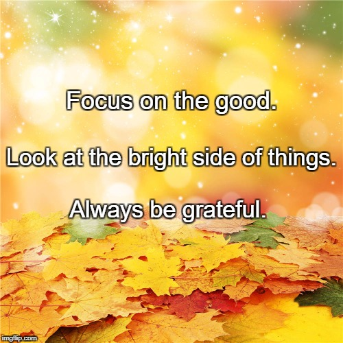 Focus on the good. Always be grateful. Look at the bright side of things. | image tagged in bright autumn leaves | made w/ Imgflip meme maker