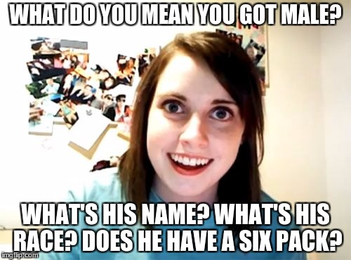 Don't let OAG check her email! Overly Attached Girlfriend Weekend, a Socrates, isayisay and Craziness_all_the_way event | WHAT DO YOU MEAN YOU GOT MALE? WHAT'S HIS NAME? WHAT'S HIS RACE? DOES HE HAVE A SIX PACK? | image tagged in memes,overly attached girlfriend | made w/ Imgflip meme maker